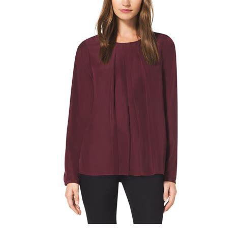 michael kors blouse michael kors pleated crepe blouse in purple lyst