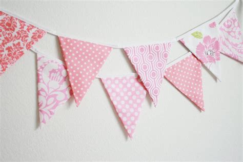 Handmade Boat Flags by Fabric Banner Bunting Flags Pretty In Pink By