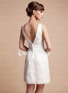 Coupe droite col v court mini satin robe de mariee avec for Robe de mariee droite