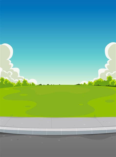 Billboard Illustration pavement  green park background   vectors 5218 x 7087 · jpeg