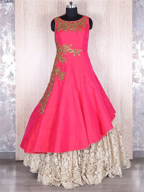 magenta silk lace designer gown fashion dresses party