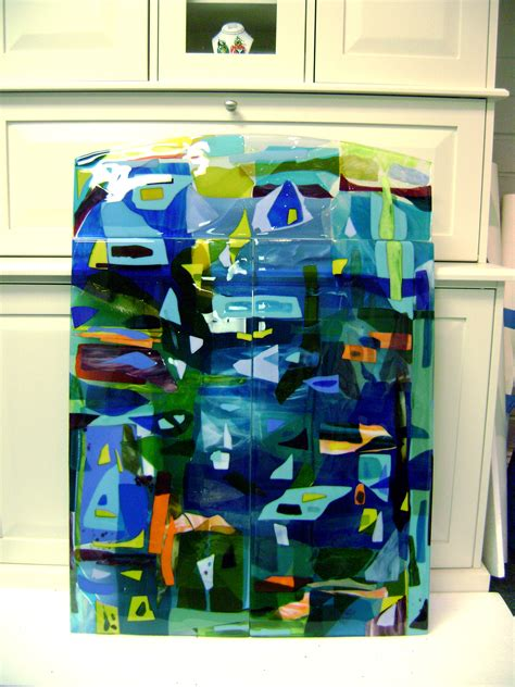 colorful fused glass wall art panel designer glass mosaics
