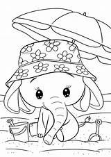 Elephant Coloring Easy Tulamama Beach Balloons sketch template