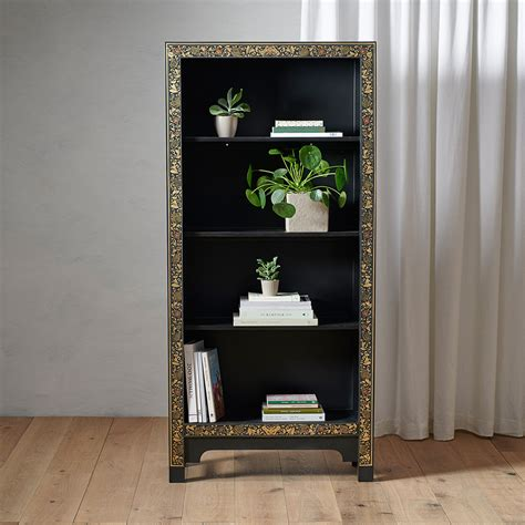 chinese style black tall wooden bookcasebookcases candle blue