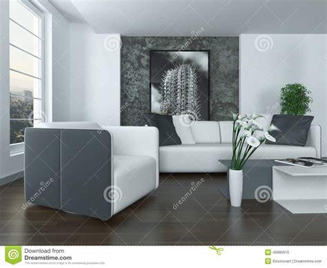 int 233 rieur gris et blanc moderne de salon illustration stock image 40985970