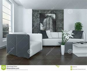 interieur gris et blanc moderne de salon illustration With interieur gris et blanc