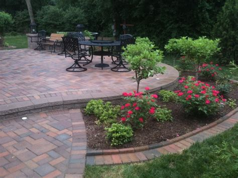landscape around patio patios with seatwalls traditional patio detroit by apex landscape and brick services llc
