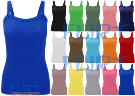 Womens Plain Ribbed Vest Tops Ladies Strappy Long Stretch