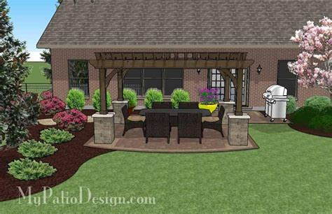 Great Backyard Patios by Simple Paver Patio Design With Pergola Plan