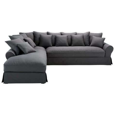 canapé d angle marrakech canapé d 39 angle gauche 6 places en coton gris ardoise