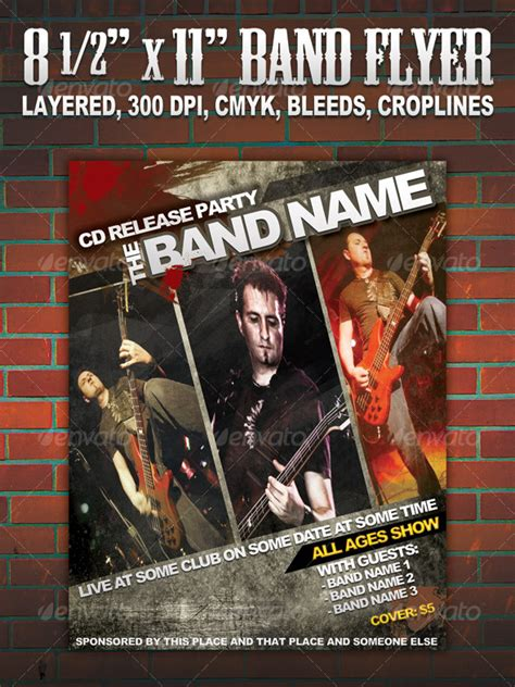 band flyer template band flyer poster 8 1 2 graphicriver