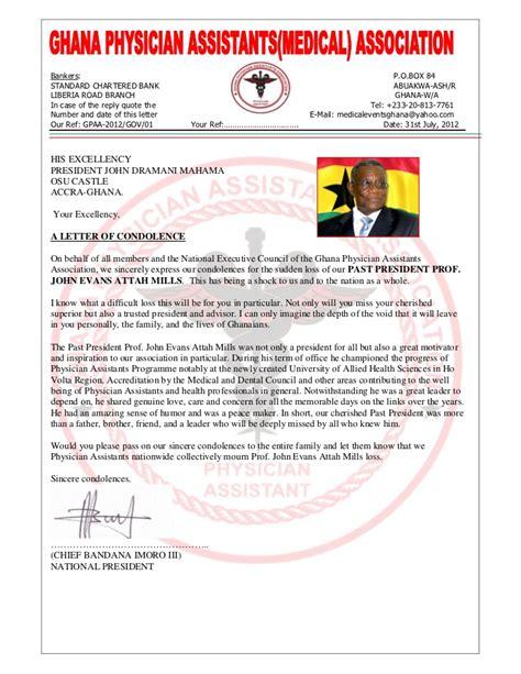 presidential condolence letter  ghana physician