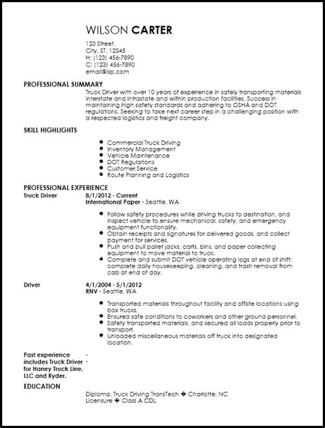 Driver Skills Resume by Free Contemporary Truck Driver Resume Templates Resume Now
