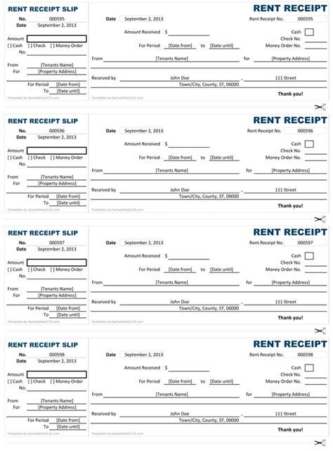 customizable  printable rent receipt templates