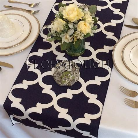 table runners fynn white and navy damask table runner moroccan