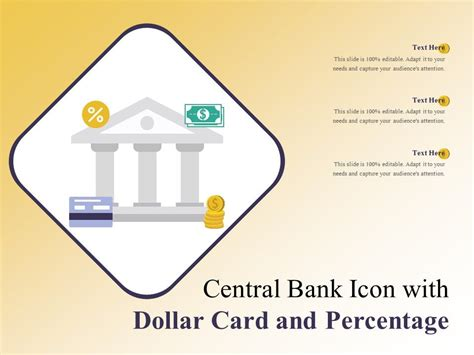 central bank icon  dollar card  percentage