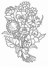 Coloring Flowers Bouquet Pages Printable Flower Sheets Tiki sketch template
