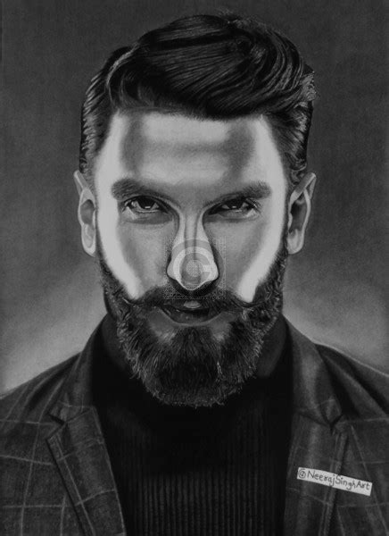ranveer singh pencil portrait sketch artoreal