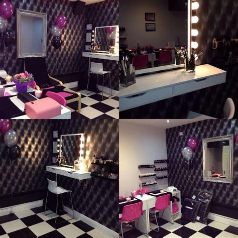 black white pink beauty room salon makeup station