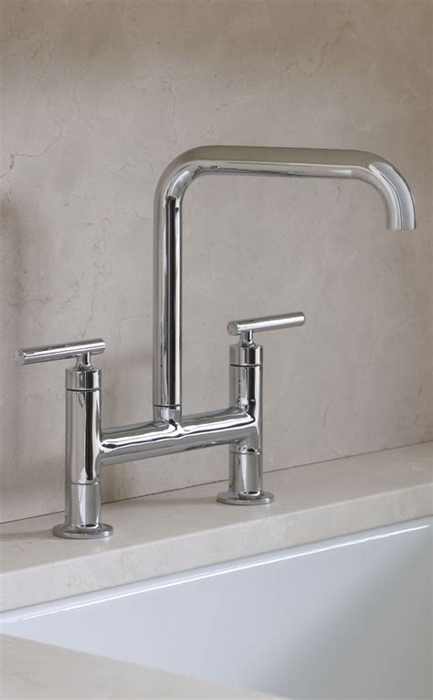 Kohler Purist Bridge Kitchen Faucet by Kohler K 7548 4 Cp Purist Deck Mount Bridge Faucet With