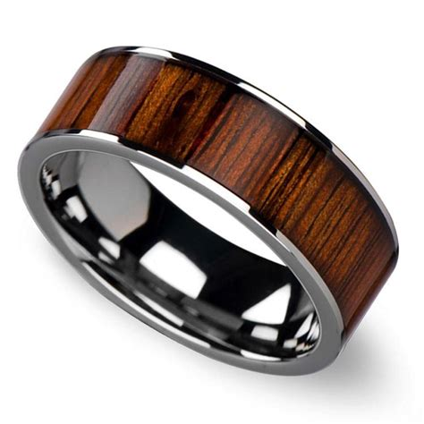 wide koa inlay s wedding ring in tungsten