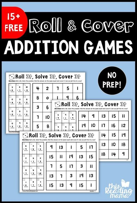 prep addition games roll cover math  images