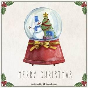 Boule De Neige Noel : aquarelle no l boule de neige t l charger des vecteurs ~ Zukunftsfamilie.com Idées de Décoration