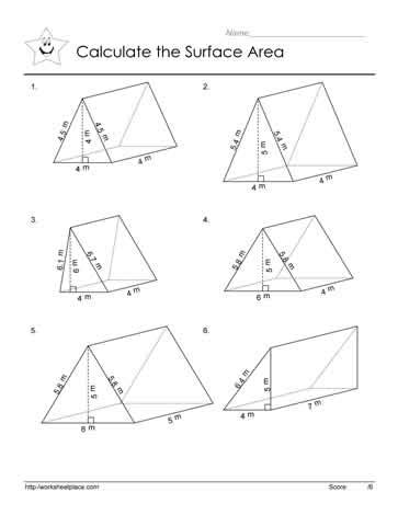 gallery for gt surface area of triangular prism worksheet