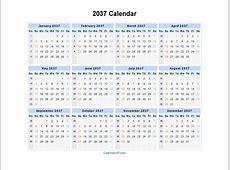 2037 Calendar Blank Printable Calendar Template in PDF