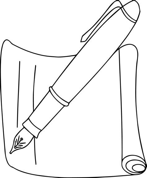 coloring paper calligraphy pen and paper coloring page wecoloringpage