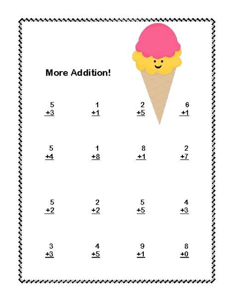 First Grade Math Addition & Subtraction Within 20 Worksheets Ice Cream Theme Teacherlingocom