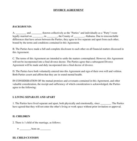 divorce agreement sample gtld world congress