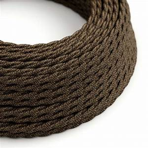 Brown Linen Covered Twisted Electric Cable 2x18 Awg
