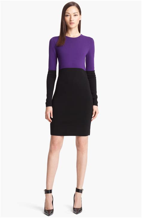 colored sweater dress michael kors colorblock sweater dress in purple grape