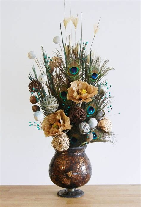 Dried Flower Arrangements In Vases by New Earthy Peacock Feather Floral Arrangement In Brown