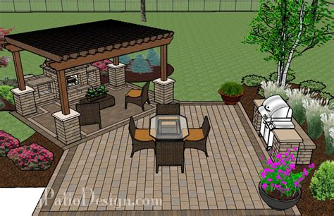 Backyard Layouts Ideas by Pergola Covered Fireplace Patio Tinkerturf