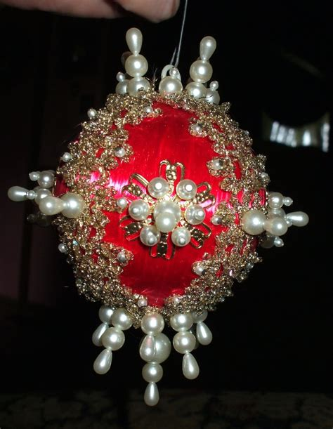vintage christmas ornament red satin ball pearls beads