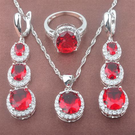 elegant red zirconia women s silver color jewelry sets