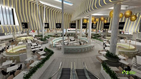 3D Innovative Mall Food Court Design View