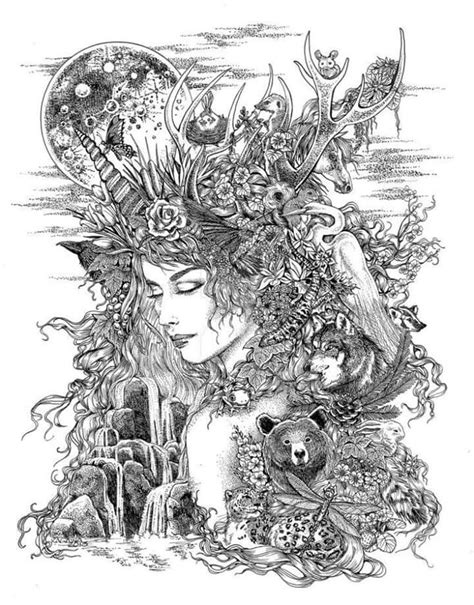 Pin by Jaclyn Stringer on coloring pages in 2019 | Goddess tattoo, Mother earth tattoo, Earth tattoo