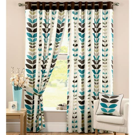 zest modern leaf print curtains cream teal  sizes