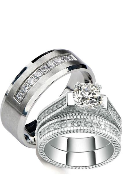 his and hers wedding rings 3 pc sterling silver stainless cz wedding ring cz moissanite