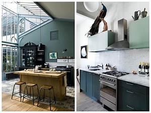 cuisine verte mur meubles electromenager blog deco With deco cuisine avec lit À eau