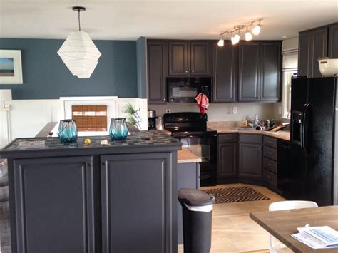 my kitchen blue slate walls and peppercorn cabinets by sherwin williams color my walls