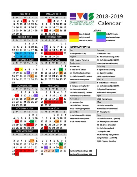 calendar master elmwood village charter schools
