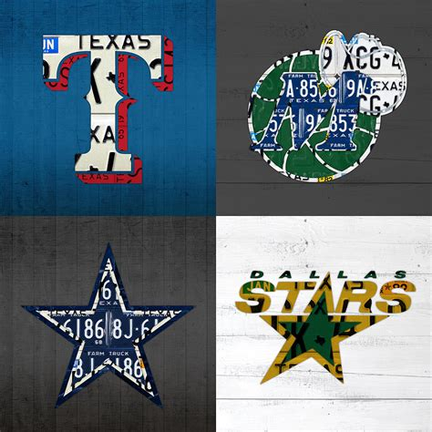 Dallas Sports Fan Recycled Vintage Texas License Plate Art ...
