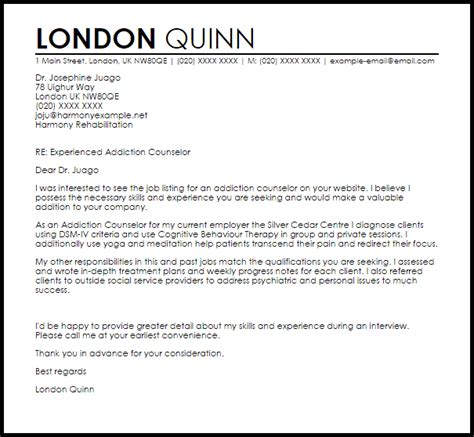 Psychiatric Cover Letter by Addiction Counselor Cover Letter