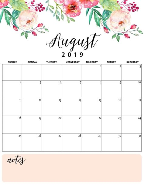 cute august  calendar