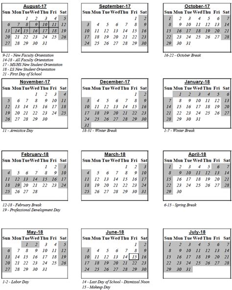 international school belgrade calendar summary