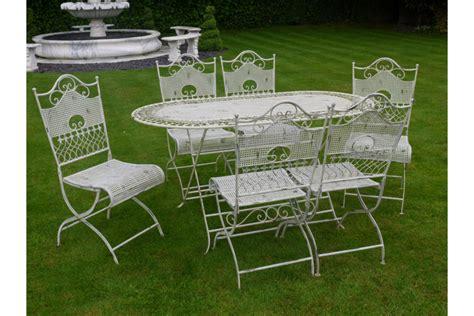dorchester 6 seater white metal garden furniture